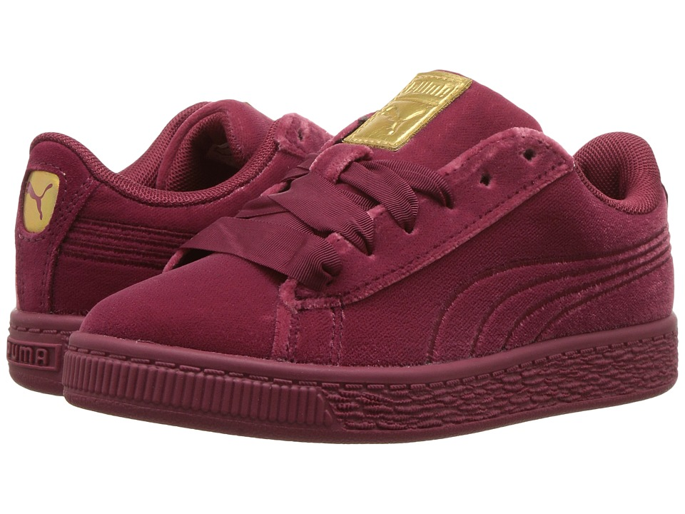 Puma Kids Basket Classic Velour (Little Kid/Big Kid) (Tibetan Red/Metallic Gold) Girls Shoes