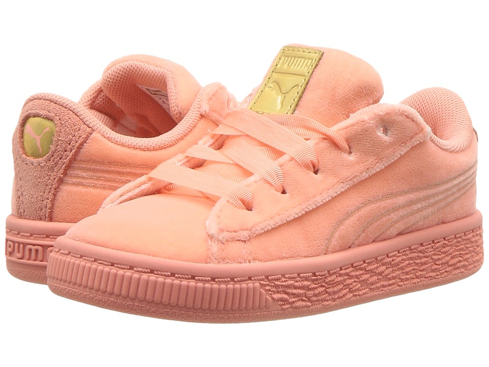 Puma Kids Basket Classic Velour (Toddler) (Desert Flower/Metallic Gold) Girls Shoes