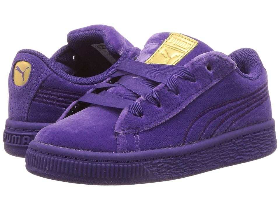 Puma Kids Basket Classic Velour (Toddler) (Royal Purple/Metallic Gold) Girls Shoes