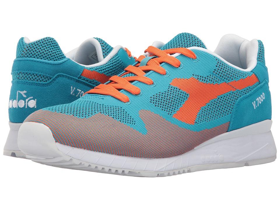 Diadora V7000 Weave (Cyan Blue/Vermillion Orange) Athletic Shoes