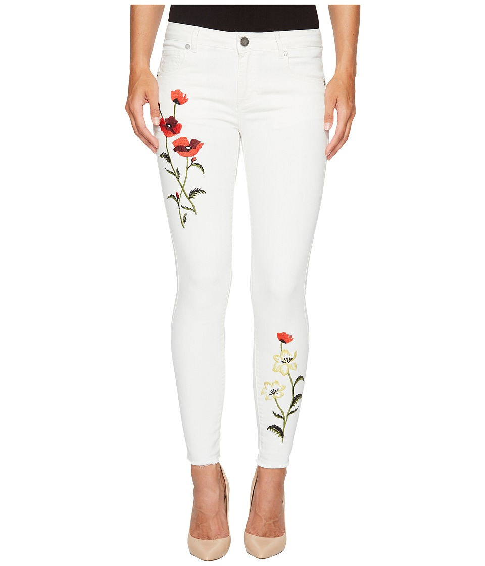 ROMEO & JULIET COUTURE - Floral Embroidery Skinny Denim Pants (Oyster) Women's Jeans