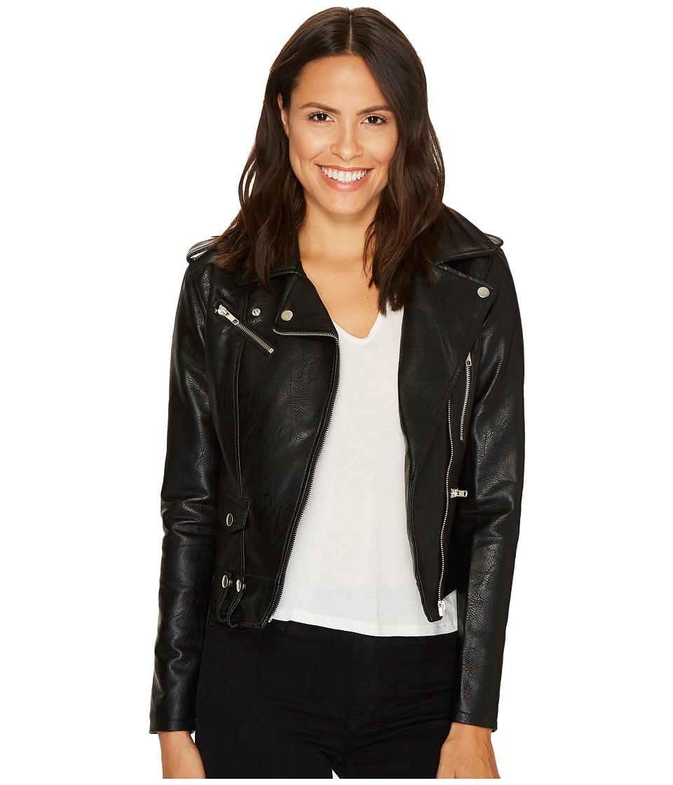 ROMEO & JULIET COUTURE - Pocket Detailed Leather Jacket (Black) Women's Coat