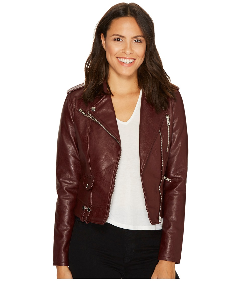ROMEO & JULIET COUTURE - Pocket Detailed Leather Jacket (Oxblood) Women's Coat