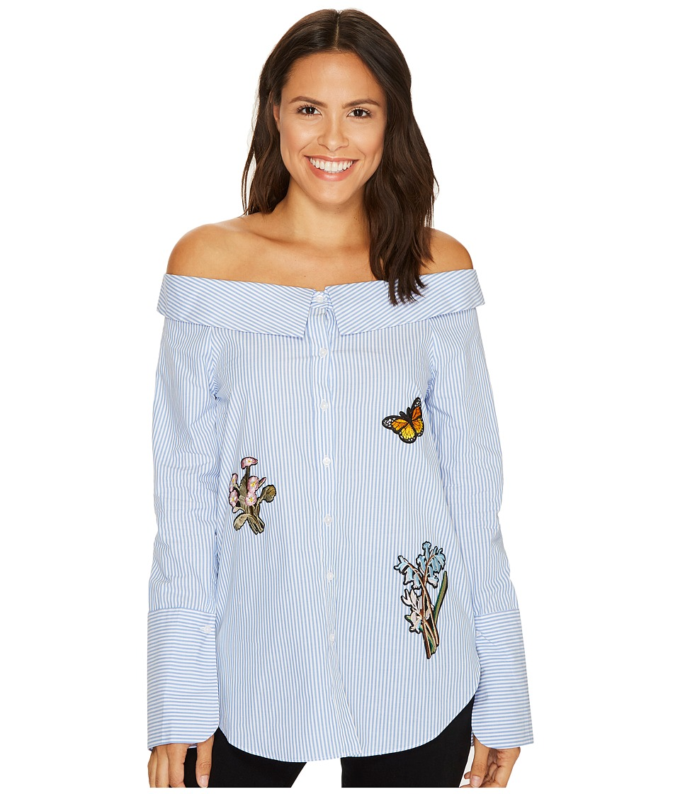 ROMEO & JULIET COUTURE - Off Shoulder Embroidery Patch Top (Blue/White) Women's Blouse