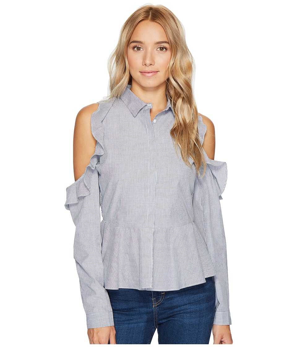 ROMEO & JULIET COUTURE - Striped Cold Shoulder Ruffle Button Up Shirt (Black/White) Women's Long Sleeve Button Up
