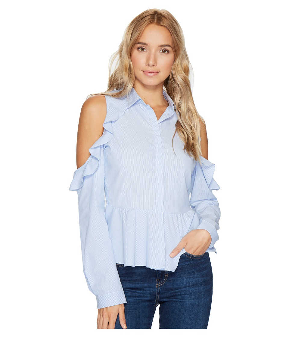 ROMEO & JULIET COUTURE - Striped Cold Shoulder Ruffle Button Up Shirt (Blue/White) Women's Long Sleeve Button Up