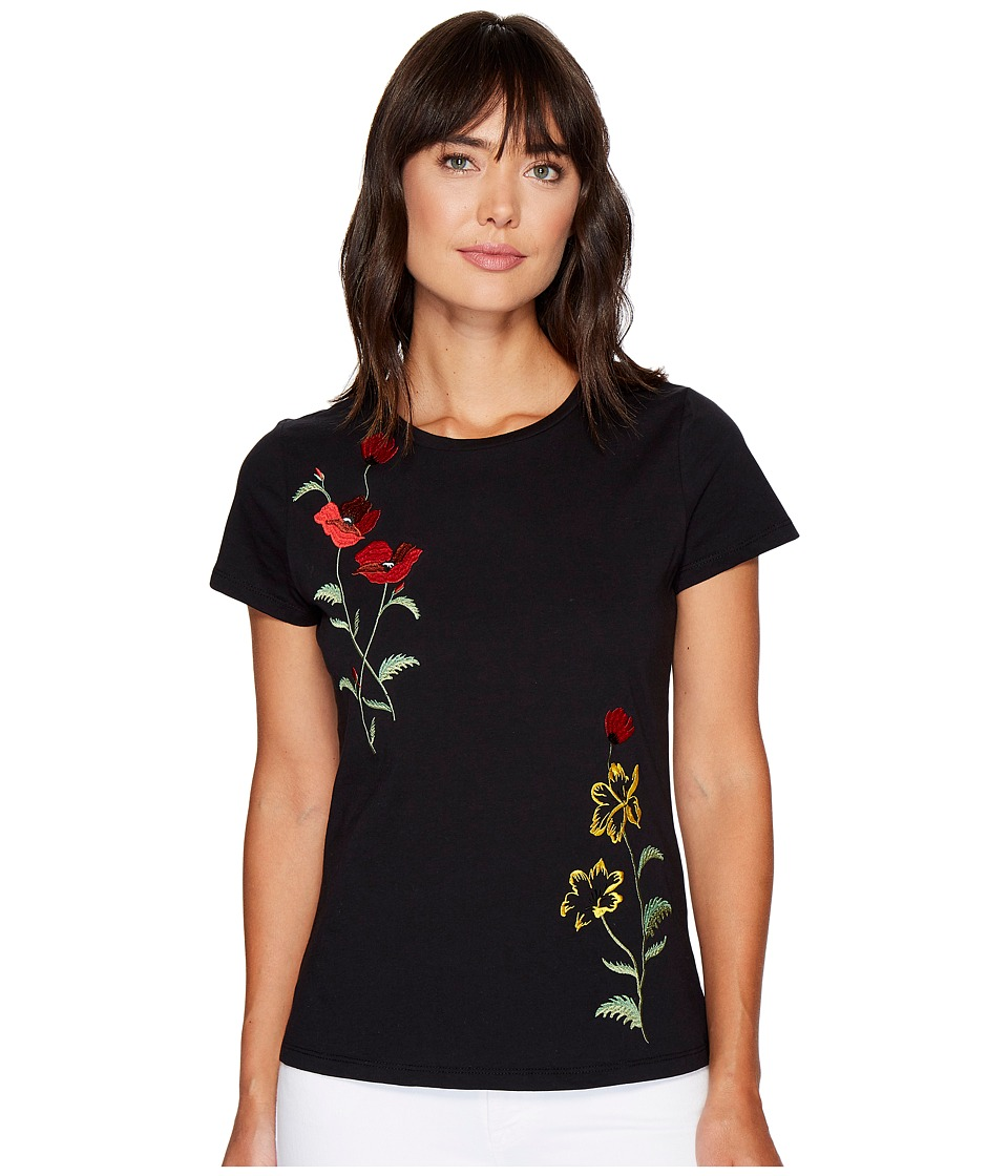 ROMEO & JULIET COUTURE - Floral Embroidered T-Shirt (Black) Women's T Shirt