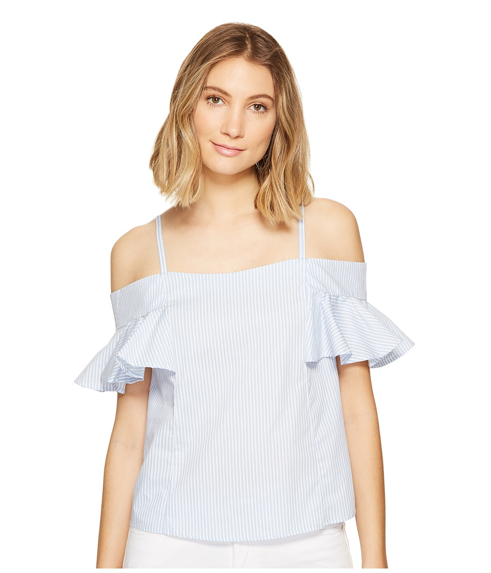ROMEO & JULIET COUTURE - Ruffled Cold Shoulder Top (Blue/White) Women's Blouse