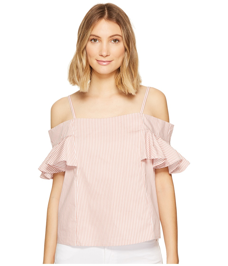 ROMEO & JULIET COUTURE - Ruffled Cold Shoulder Top (Terracotta Blush/White) Women's Blouse