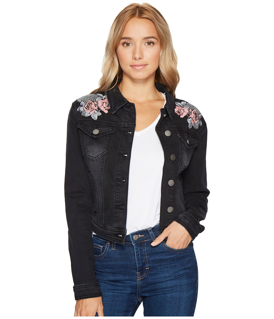 ROMEO & JULIET COUTURE - Embroidered Denim Jacket (Black) Women's Coat