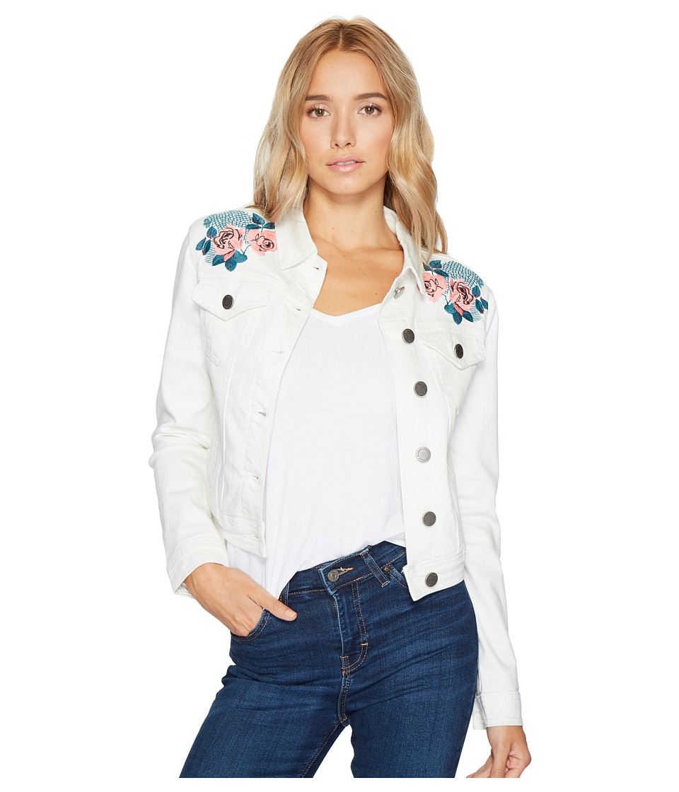ROMEO & JULIET COUTURE - Embroidered Denim Jacket (Oyster) Women's Coat