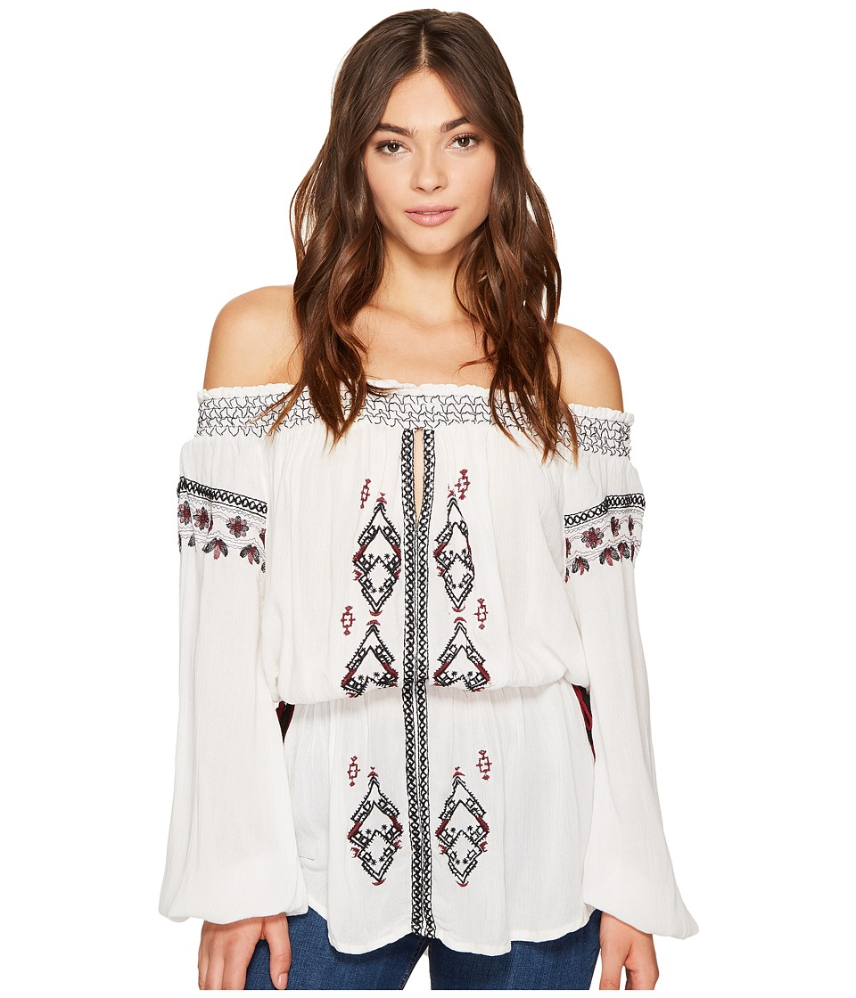 ROMEO & JULIET COUTURE - Off Shoulder Embroidered Woven Tunic (White) Women's Blouse