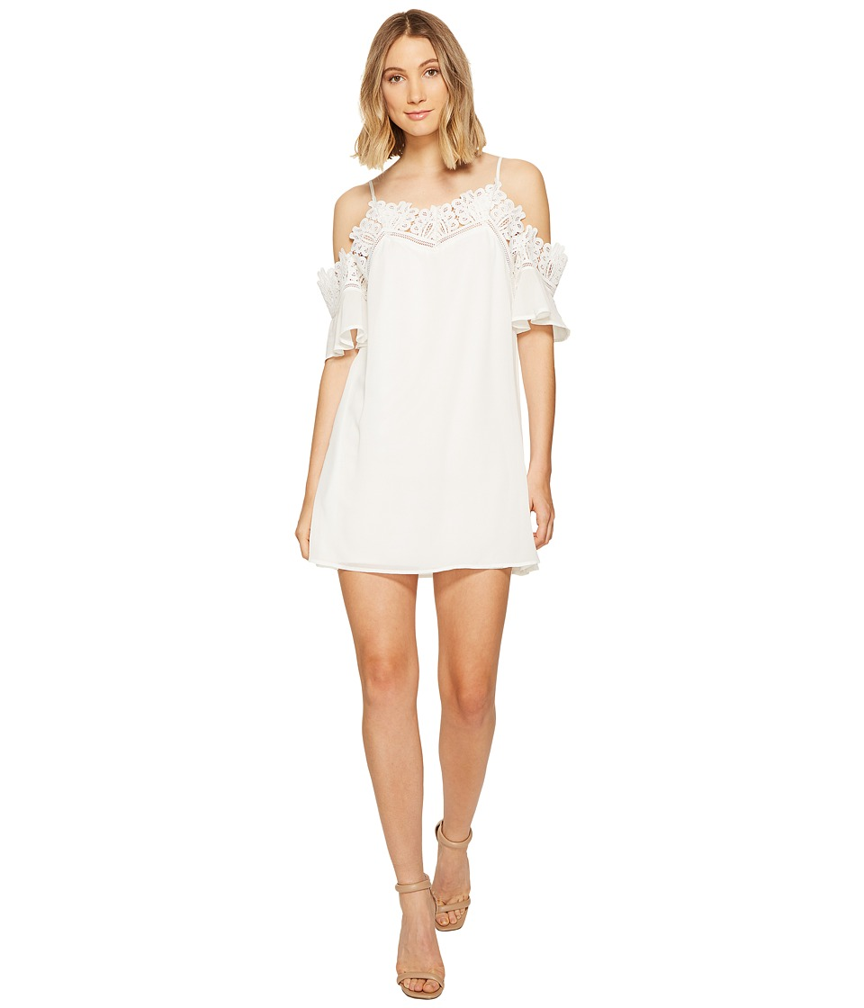 ROMEO & JULIET COUTURE - Cold Shoulder Lace Trim Dress (White) Women's Dress