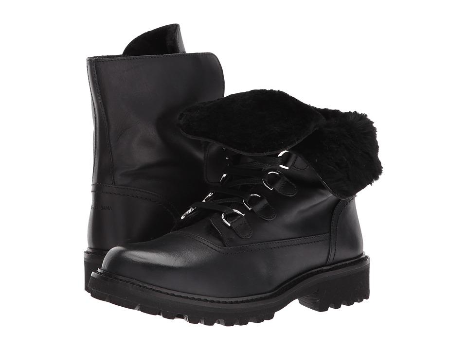 Dolce & Gabbana Kids Lace-Up Boot (Little Kid/Big Kid) (Black) Boys Shoes