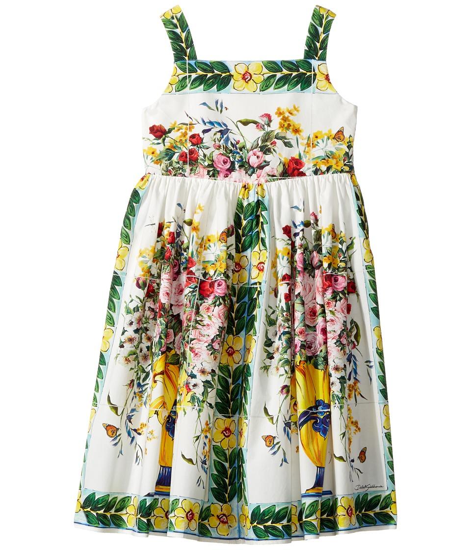 Dolce & Gabbana Kids Caltagirone Vase Print Poplin Dress