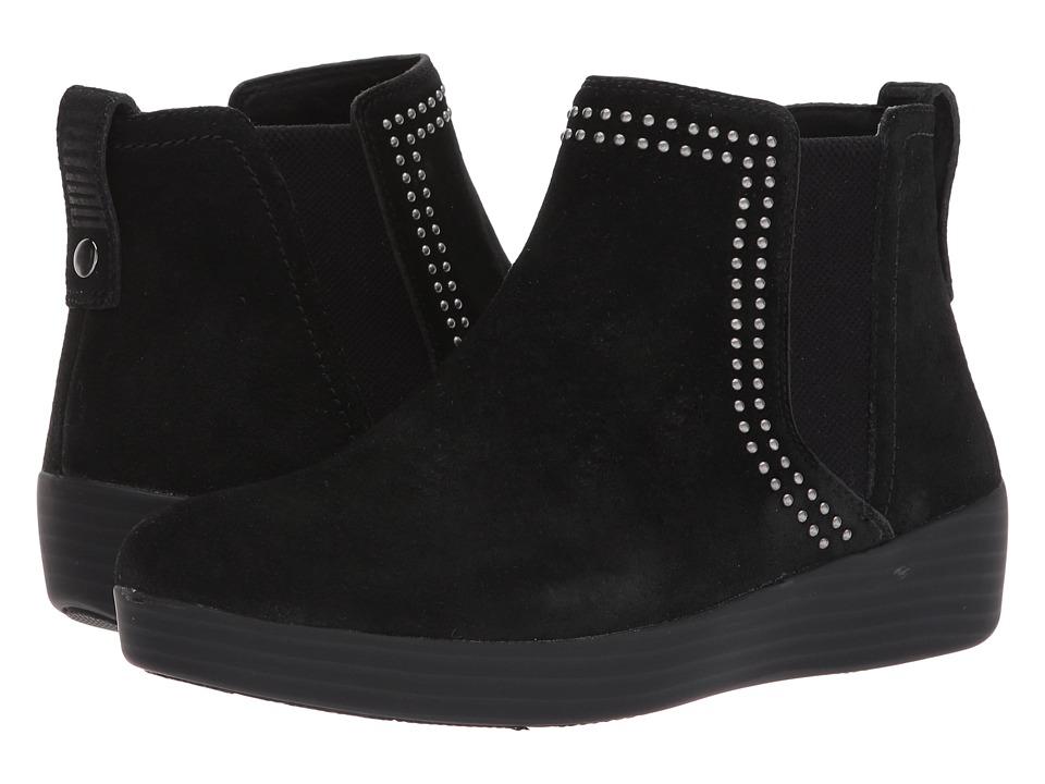 FitFlop Superchelsea Suede Boot w/ Studs (Black) Women