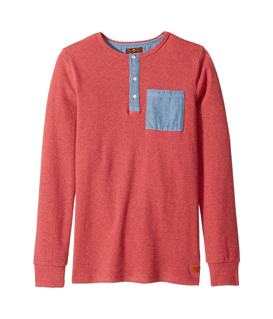 7 For All Mankind Kids - Long Sleeve Tee (Big Kids) (Heather Garnet) Boy's T Shirt