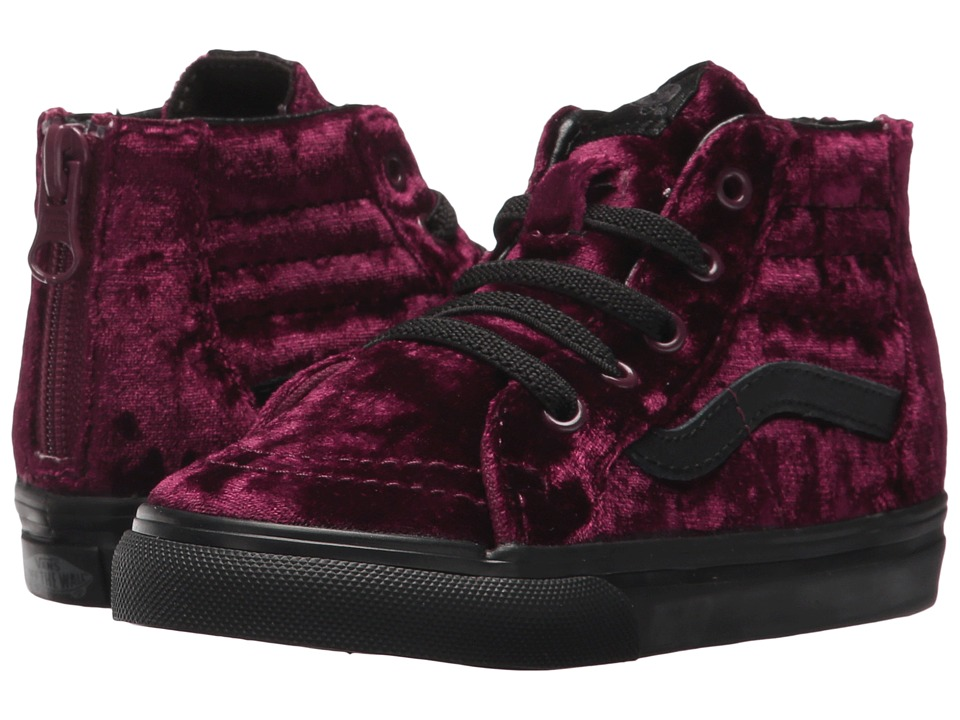 Vans Kids Sk8-Hi Zip (Toddler) ((Velvet) Red/Black) Girls Shoes