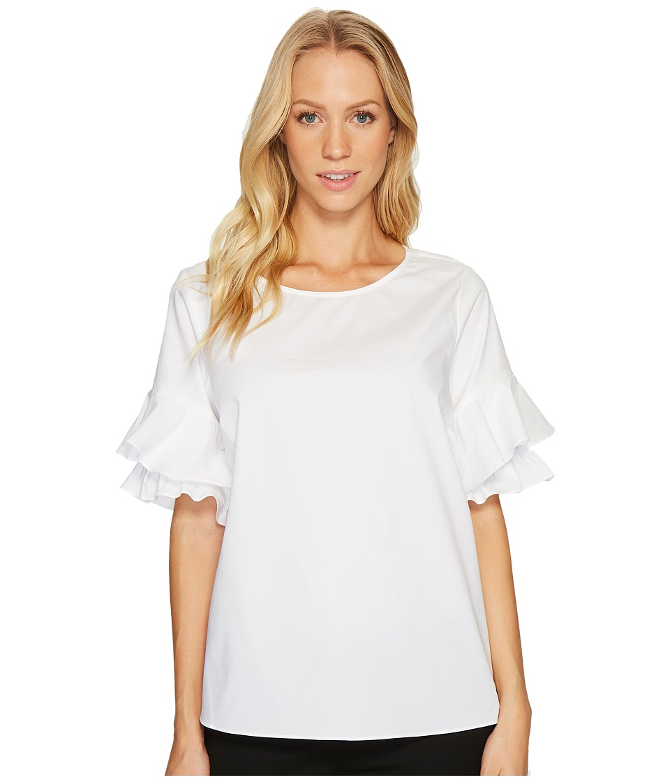 CeCe - Tiered Ruffle Sleeve Poplin Shirt (Ultra White) Women's Clothing