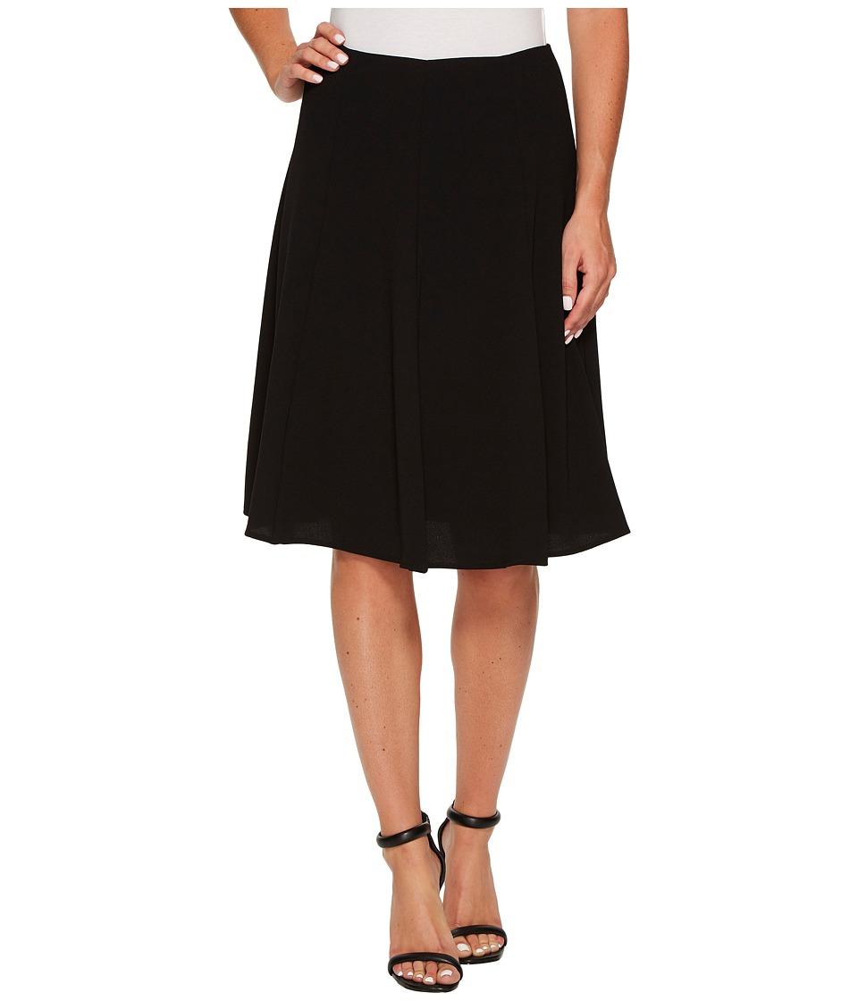 CeCe - Moss Crepe Knee Length Flounce Skirt (Rich Black) Women's Skirt