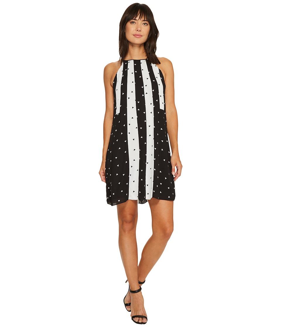 CeCe - Tossed Diamonds Mix Panel Swing Dress (Rich Black) Women's Dress