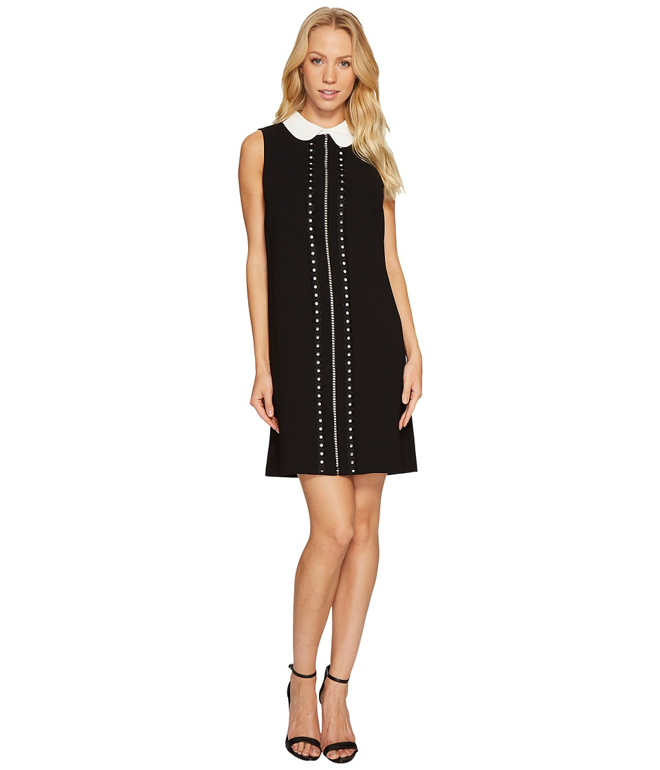 CeCe Sleeveless Eyelet Embroidered Collared Dress