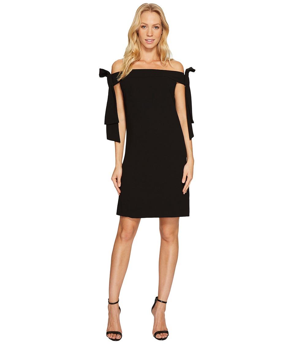 CeCe Bow Tie Off Shoulder Crepe Sheath Dress (Rich Black) Women