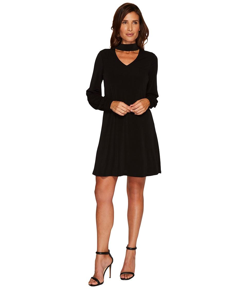 CeCe Long Sleeve Mock Choker Crepe Knit Dress