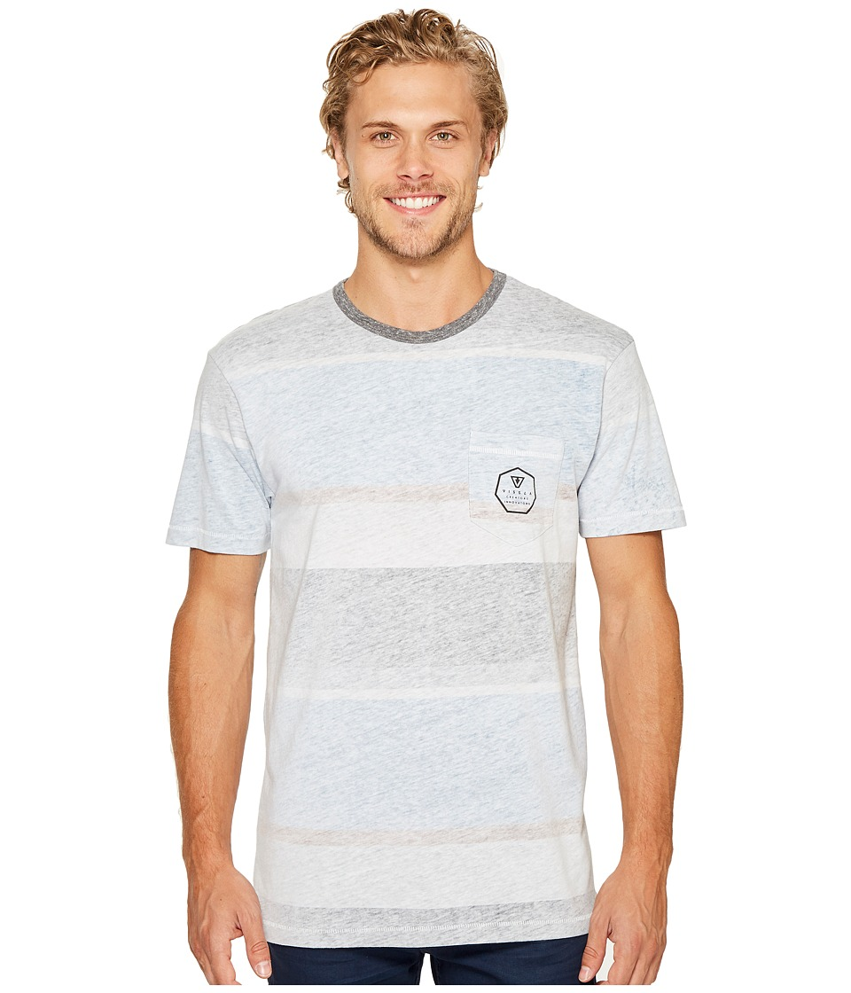 VISSLA - Waterline Short Sleeve Crew Knit with All Over Reverse Print (Blue Fog) Men's Clothing