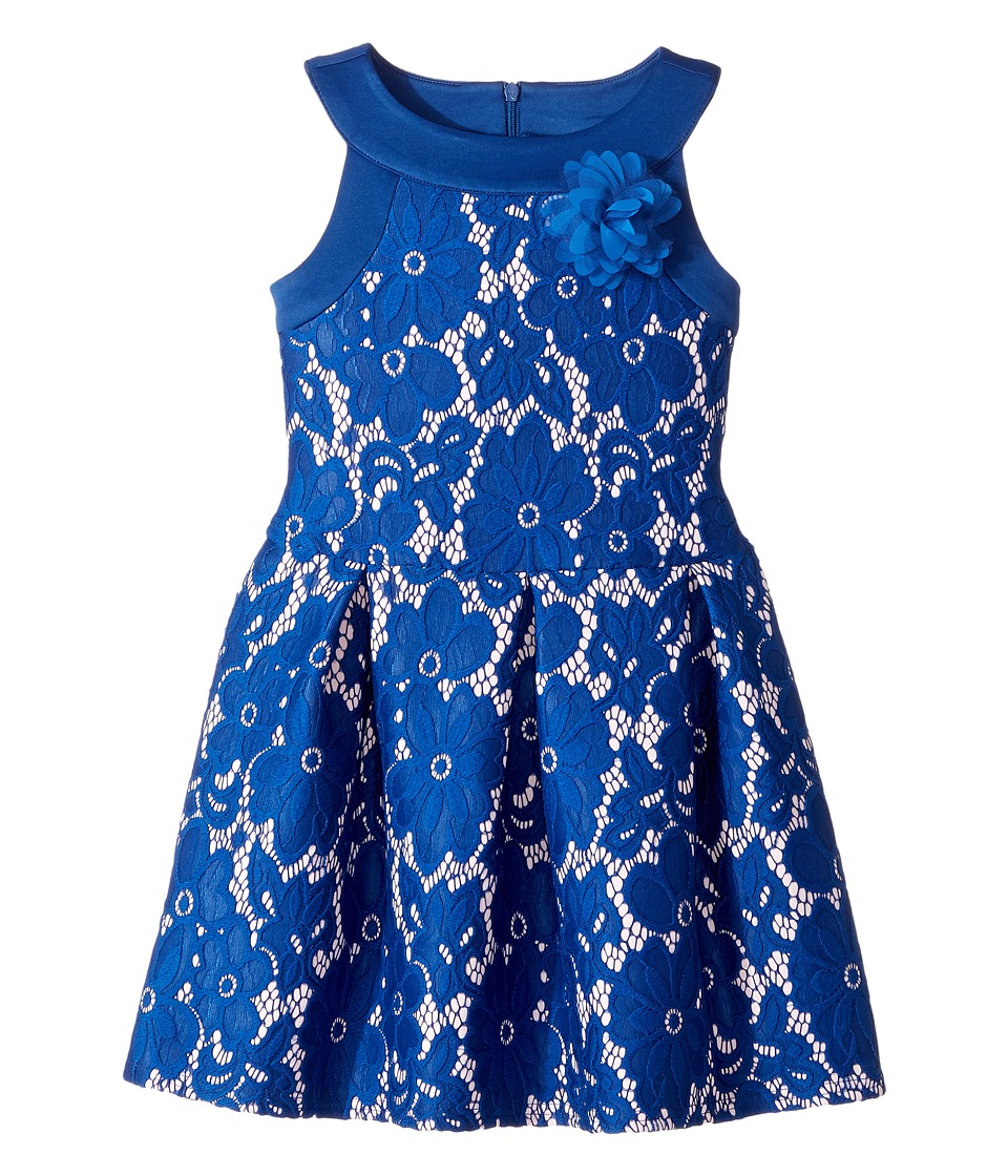 Us Angels - Sleeveless Lace and Scuba Drop Waist with A Pleat Skirt (Toddler/Little Kids) (Navy) Girl's Dress