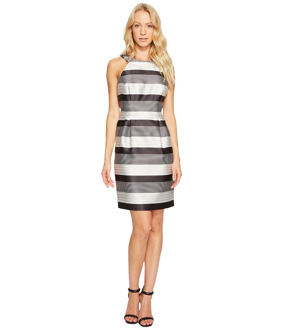 Jessica Simpson - Striped Halter Sateen Dress (Black/White) Women's Dress