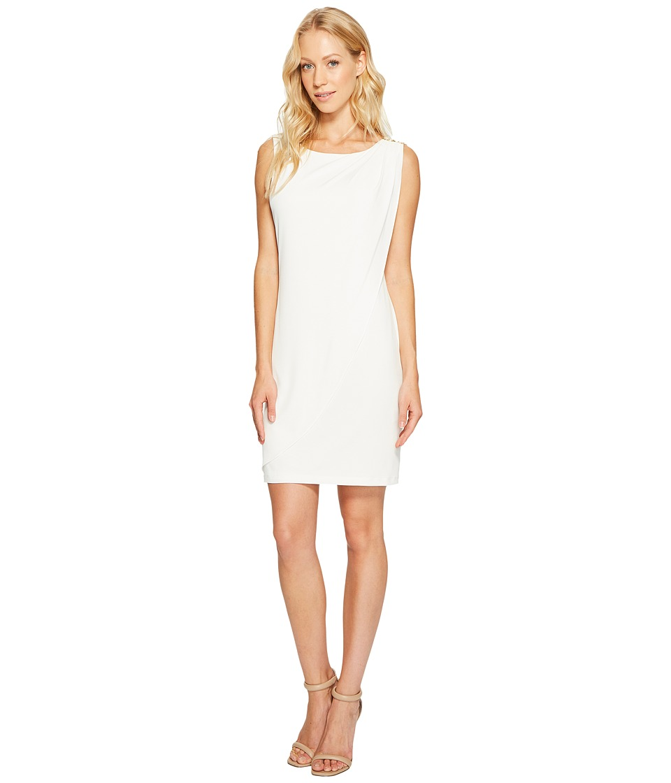 Jessica Simpson Sleeveless Ity Dress with Front Drape (Ivory) Women