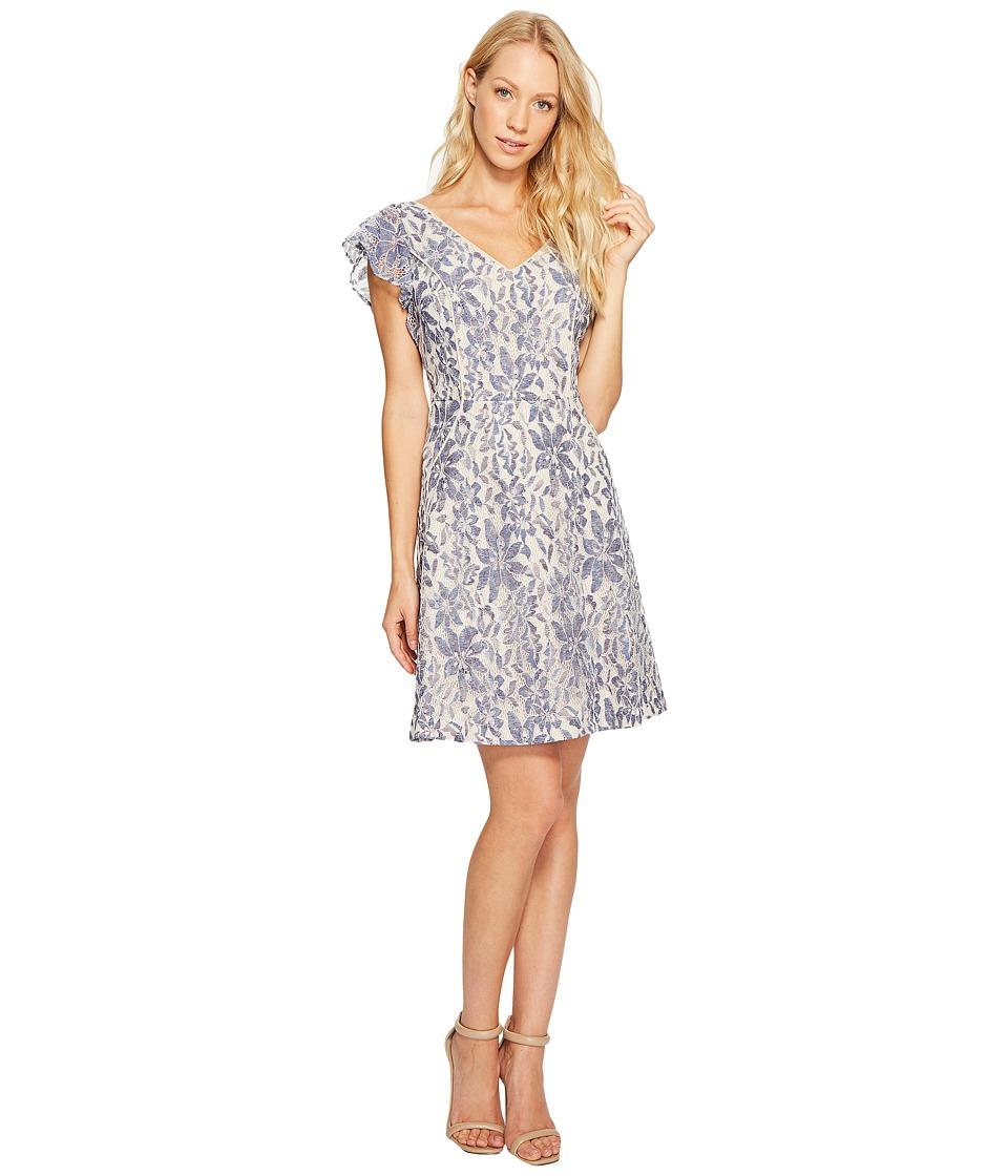Jessica Simpson Flutter Sleeve Lace Dress (Denim) Women