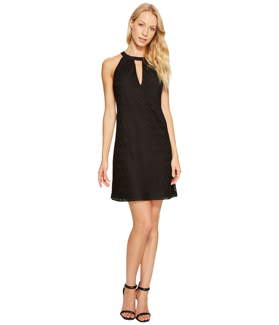 Jessica Simpson - Halter Neck Lace Dress (Black) Women's Dress