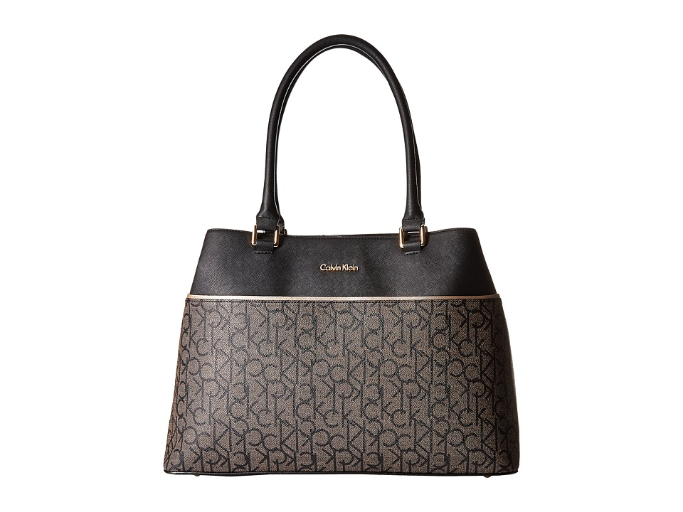 Calvin Klein - Monogram Tote (Textured Khaki/Black/Black) Tote Handbags