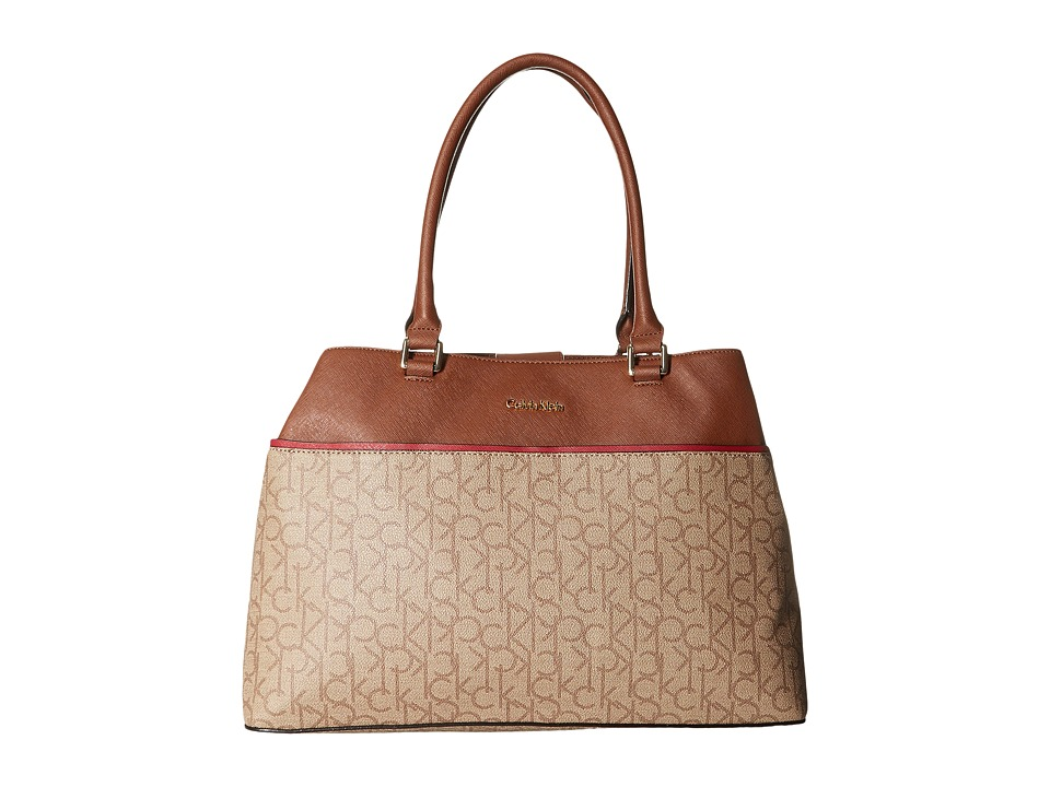 Calvin Klein - Monogram Tote (Textured Khaki/Brown/Red) Tote Handbags