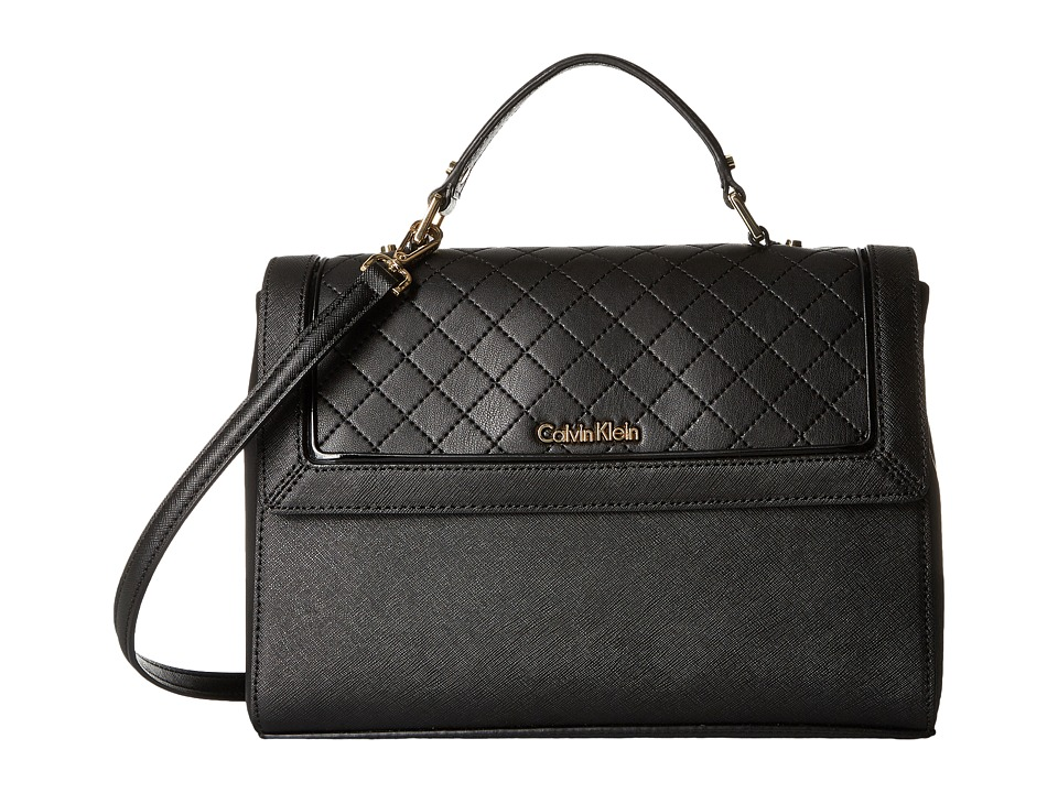 Calvin Klein - Saffiano Satchel (Black Quilt) Satchel Handbags