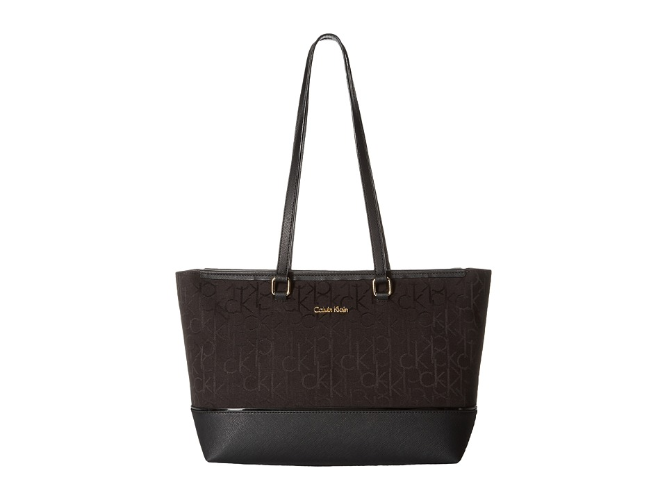 Calvin Klein - Cotton Jacquard Tote (Black/Black) Cross Body Handbags