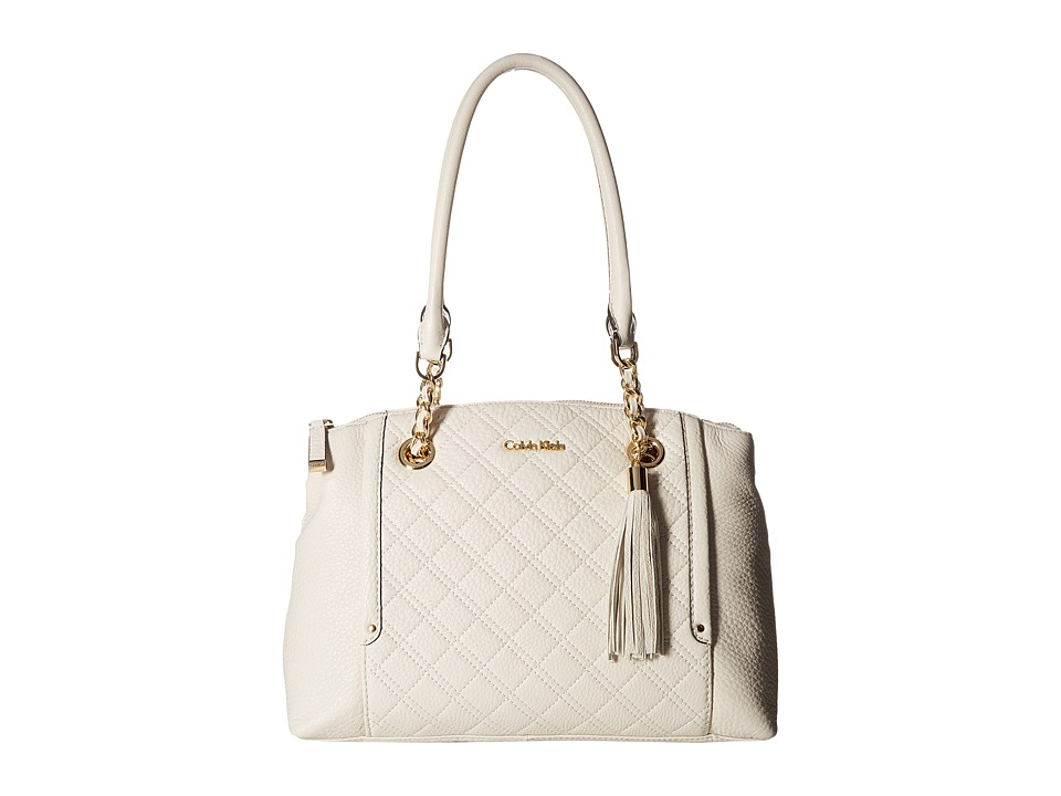 Calvin Klein - Permanent Pebble Satchel (White) Cross Body Handbags