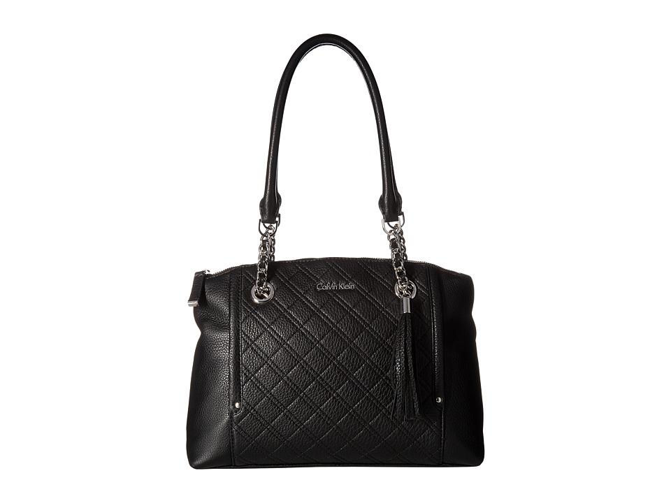 Calvin Klein - Permanent Pebble Satchel (Black/Silver) Cross Body Handbags