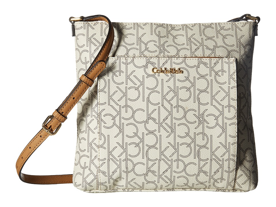 Calvin Klein - Eliza Monogram Crossbody (Almond/Khaki/Cashew) Cross Body Handbags