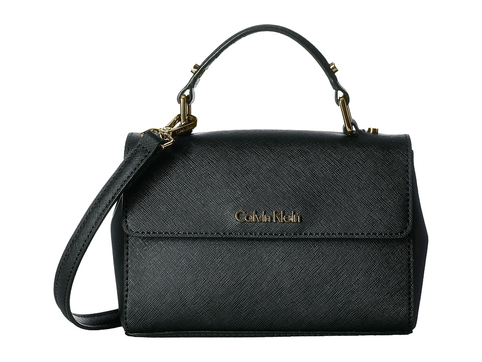 Calvin Klein - Gifting Saffiano Mini Flap Crossbody (Black/Gold) Cross Body Handbags