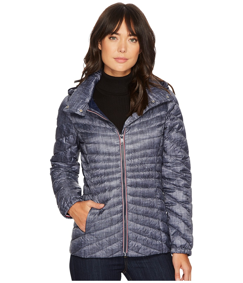 Tommy Hilfiger - Zip Front 29 Hooded Packable (Denim) Women's Coat
