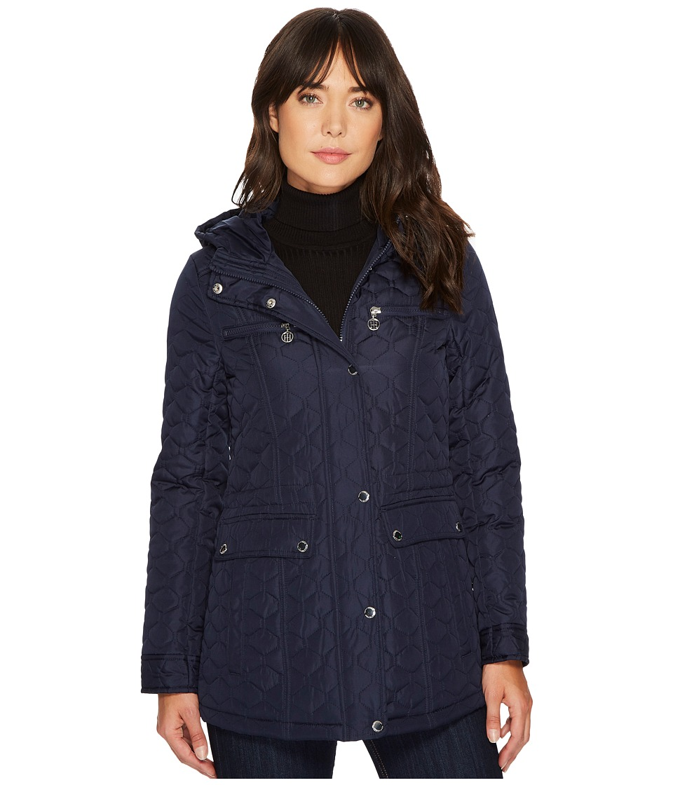 Tommy Hilfiger - Diamond Quilt with Hood (Navy) Women's Coat