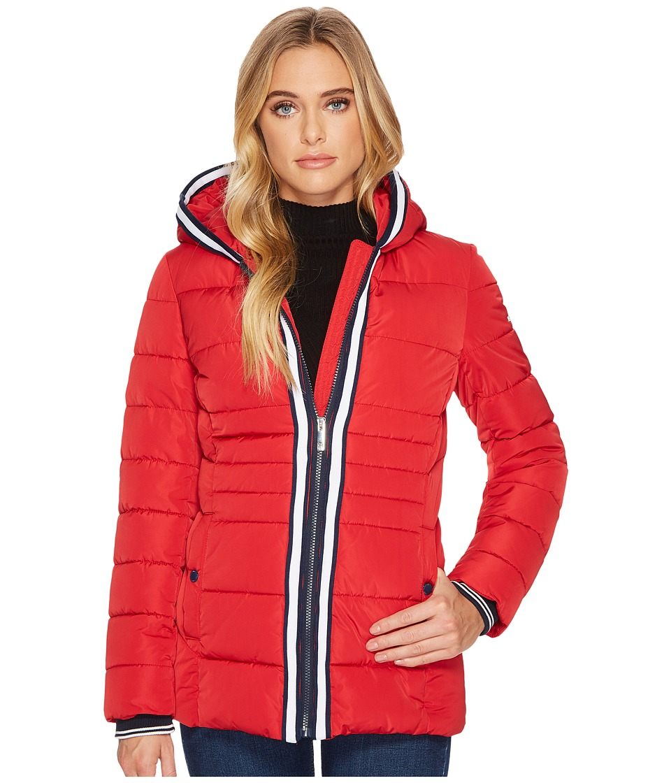 Tommy Hilfiger - Zip Front Horizontal Puffer with Hood (Salsa) Women's Coat