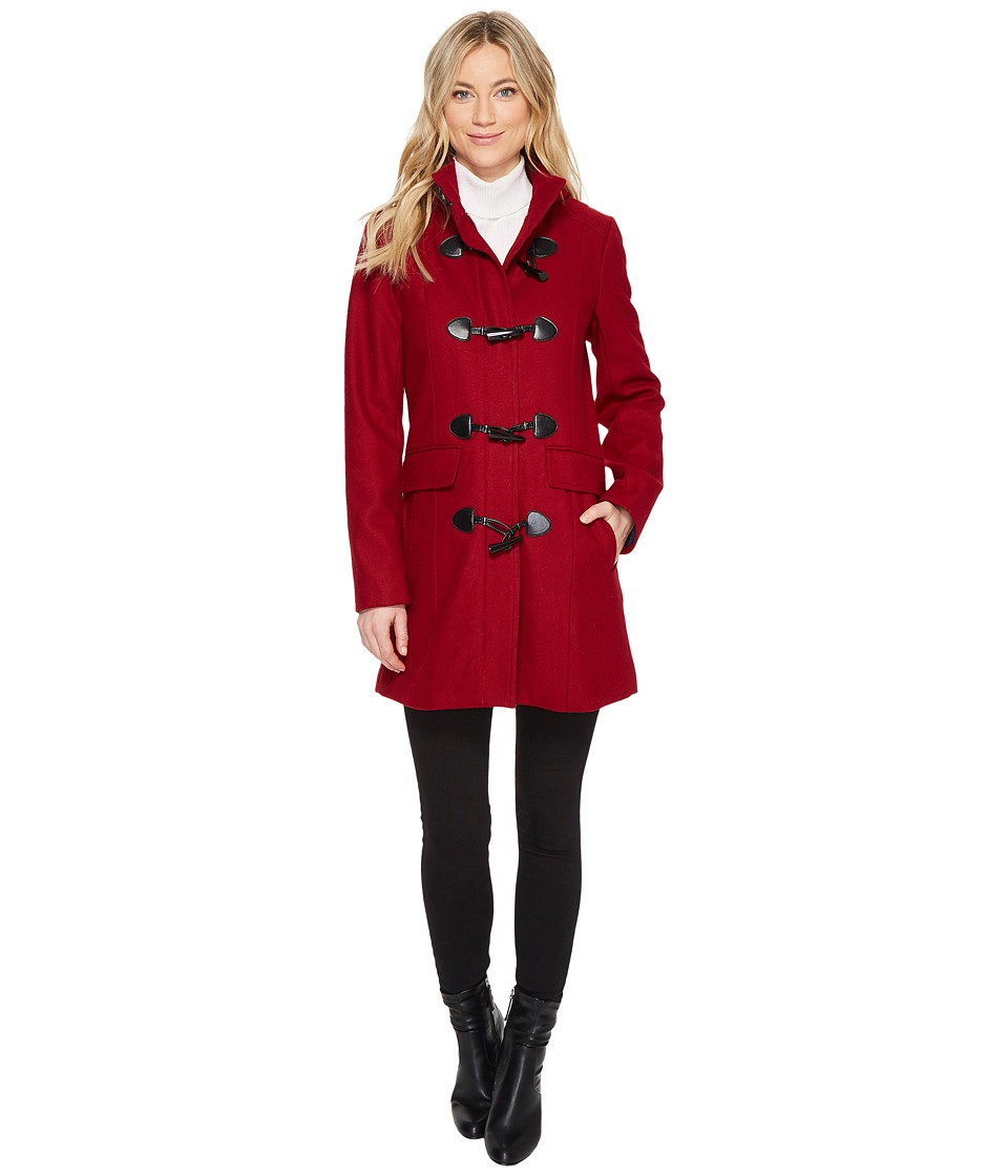 Tommy Hilfiger - Wool Toggle Front Coat (Red) Women's Coat