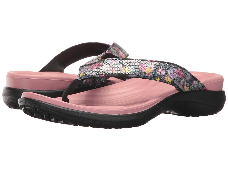Crocs Capri V Graphic Sequin Flip (Cashmere Rose) Women