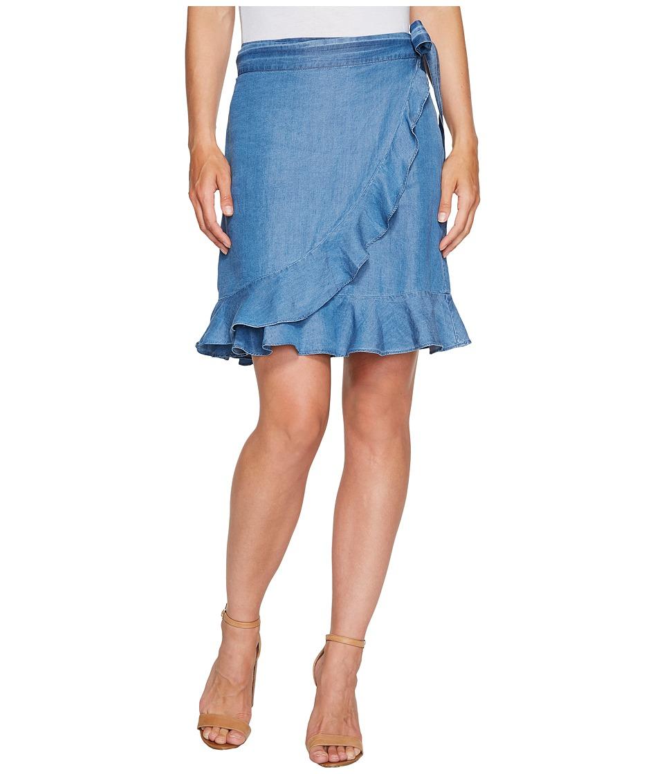 Ivanka Trump - Denim Tencil Faux Wrap Skirt (Medium Blue) Women's Skirt