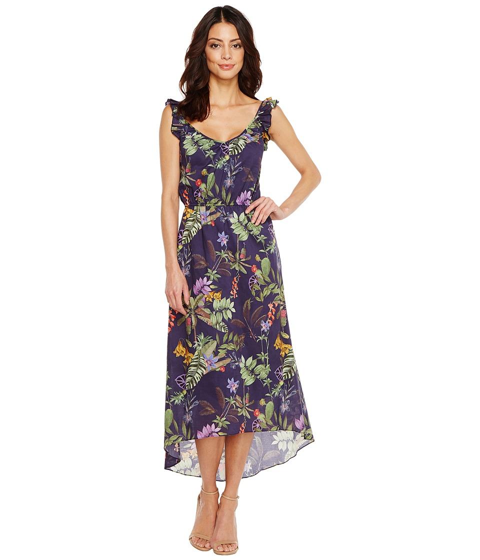 Ivanka Trump - Tropical Print Ruffle Sleeve Dress (Evening Blue) Women's Dress