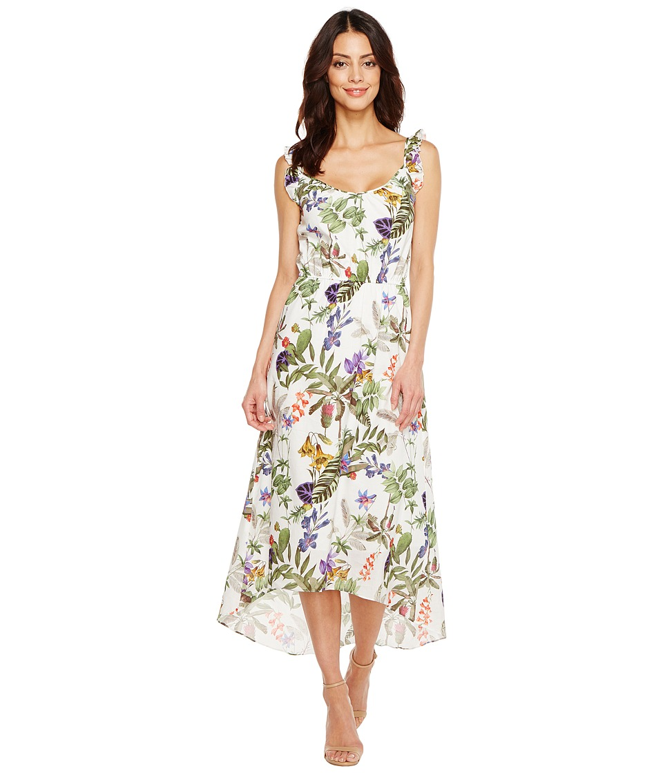 Ivanka Trump - Tropical Print Ruffle Sleeve Dress (Off-White Multi) Women's Dress
